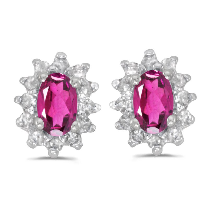 Color Merchants 14k White Gold Oval Pink Topaz And Diamond Earrings