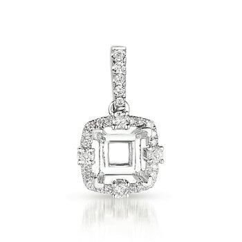 Diamond Pendant For .75ct Princess cente