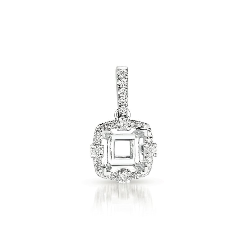 S. Kashi  & Sons Diamond Pendant For .75ct Princess cente