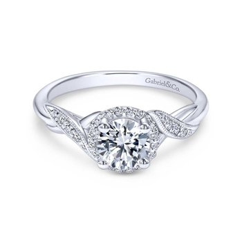 14k White Gold Twisted Shank Diamond Halo Engagement Ring