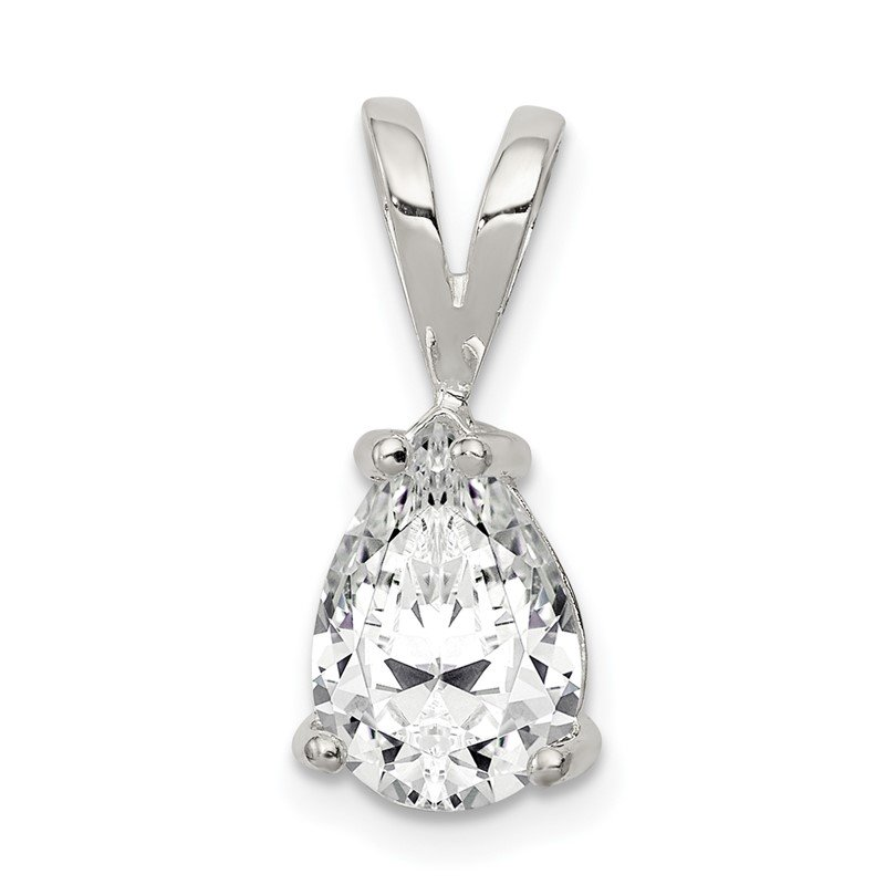 Quality Gold Sterling Silver Pear CZ Pendant