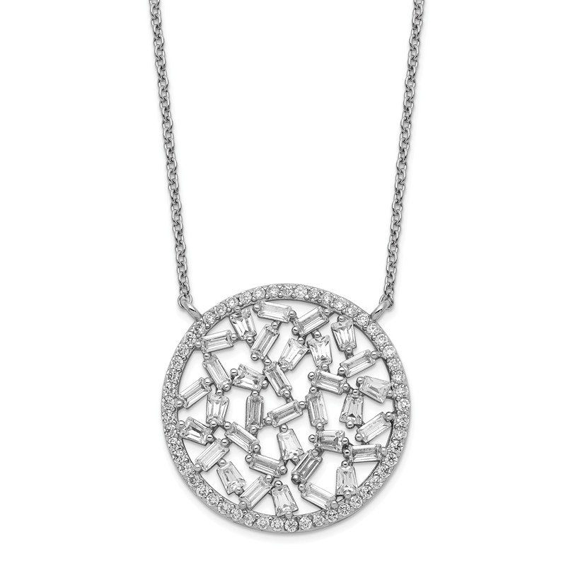 Cheryl M Cheryl M Sterling Silver Rhodium Plated CZ Cluster Circle 18in Necklace