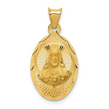 14K Polished D/C Sagrado Corazon Oval Pendant