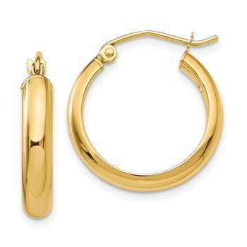 14k Round Tube Hoop Earrings