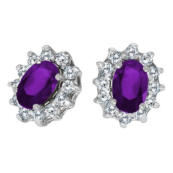 14k White Gold Oval Amethyst and .25 total ct Diamond Earrings