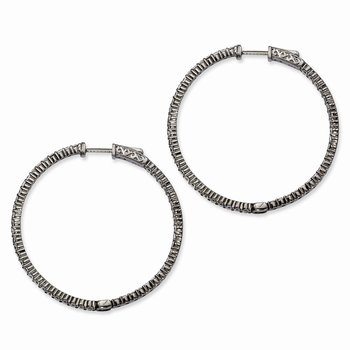 Sterling Silver Ruthenium-plated CZ In & Out Hoop Earrings