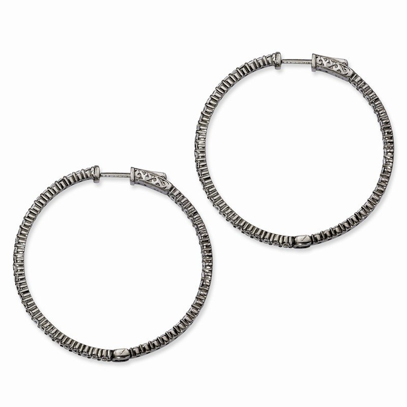 Quality Gold Sterling Silver Ruthenium-plated CZ In & Out Hoop Earrings