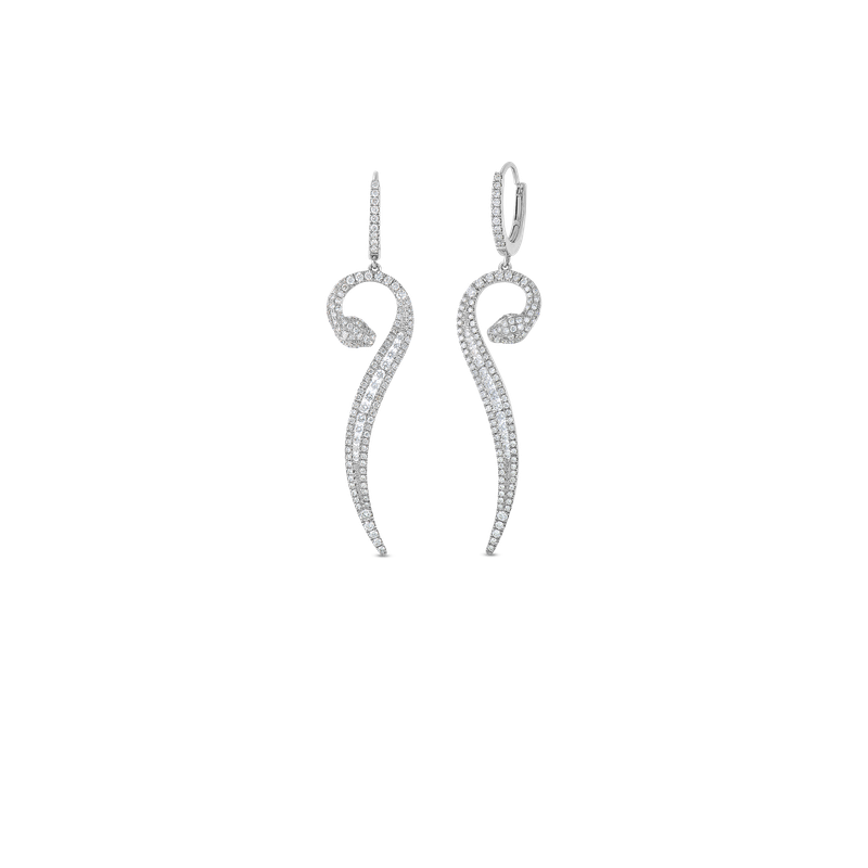 Roberto Coin 18KT GOLD SNAKE DROP EARRINGS WITH DIAMONDS