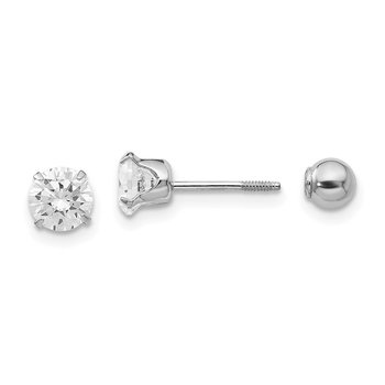 14k Madi K White Gold 5mm CZ and 4mm Ball Reversible Earrings