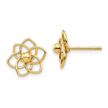14K Polished Flowers Post Earrings