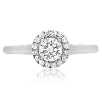 Single Halo White Diamond Ring