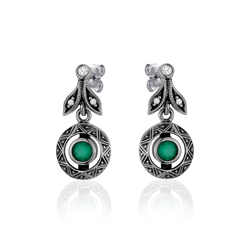 LARUS Jewelry Small Green Drop Earrings