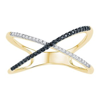 10kt Yellow Gold Womens Round Black Color Enhanced Diamond Crossover Band Ring 1/6 Cttw