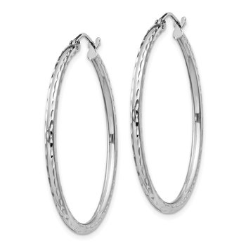 Sterling Silver Rhodium-plated 2mm Diamond Cut Hoop Earrings