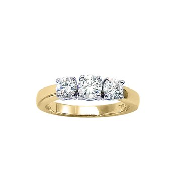 14k Yellow Gold 1 ct 3 Stone Diamond Ring