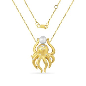 14K octopus necklace with 30 diamonds 0.12C & cultured pearl 30mm long X 20mm wide