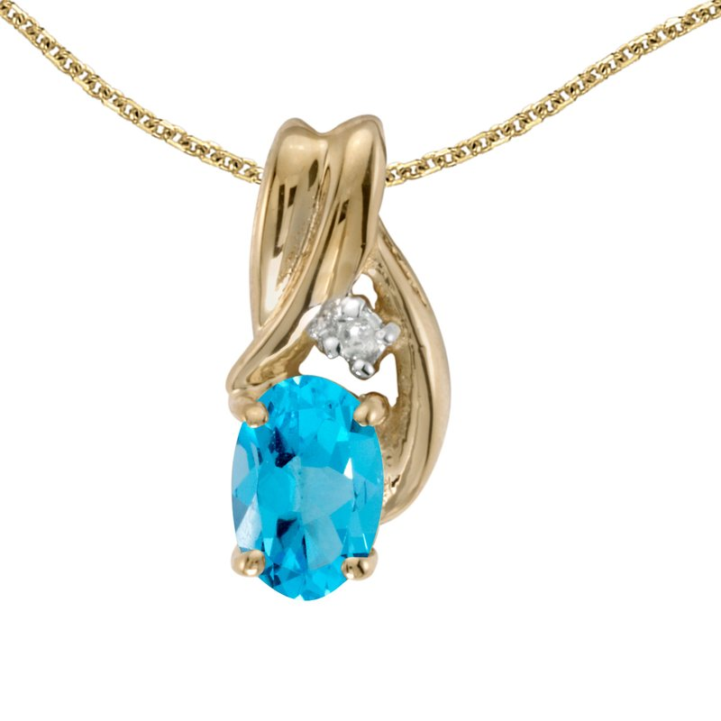 Color Merchants 10k Yellow Gold Oval Blue Topaz And Diamond Pendant