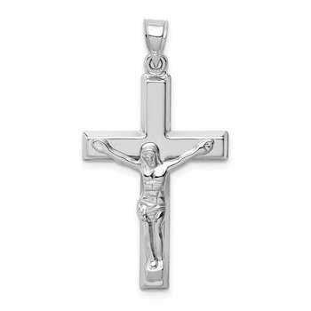 14k White Gold Polished Crucifix Pendant