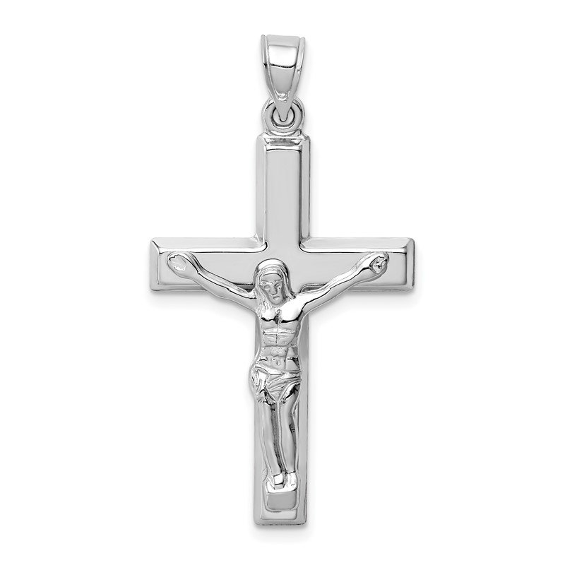 Quality Gold 14k White Gold Polished Crucifix Pendant