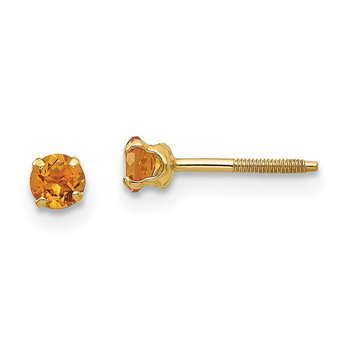 14k Madi K 3mm Citrine Birthstone Earrings