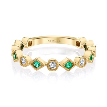 MARS 26213YGEM Stackable Ring, 0.19 Dia, 0.14 Emerald