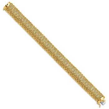 14k 7.25in 13.75mm Polished Mesh Bracelet