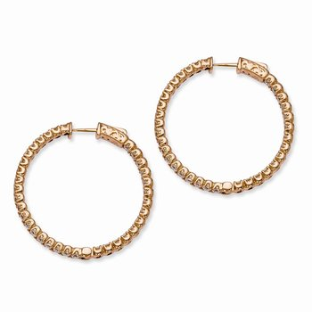 Sterling Silver Rose-tone CZ In and Out Round Hoop Earrings