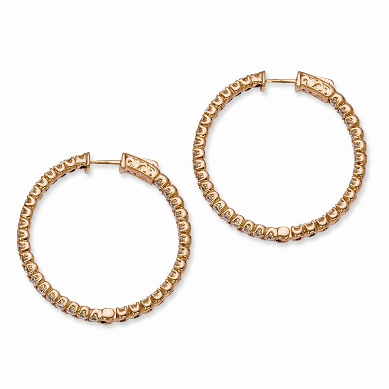 Quality Gold Sterling Silver Rose-tone CZ In and Out Round Hoop Earrings