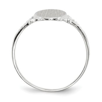 14k White Gold 13.5x8.5mm Closed Back Signet Ring