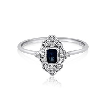 14k White Gold Filigree Emerald Cut Sapphire and Diamond Ring