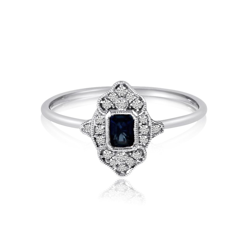 Color Merchants 14k White Gold Filigree Emerald Cut Sapphire and Diamond Ring