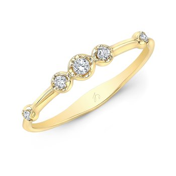 Yellow Gold Scattered Bezel Stackable Band