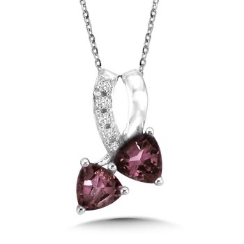 Trillion-Cut  Created Alexandrite and Diamond Pendant