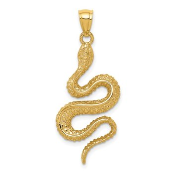 14K Polished Textured Snake Pendant