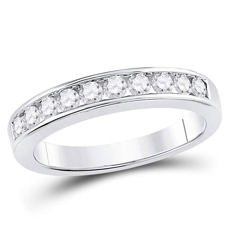 14kt White Gold Womens Round Channel Set Diamond Wedding Band 1 2 Cttw Size 8