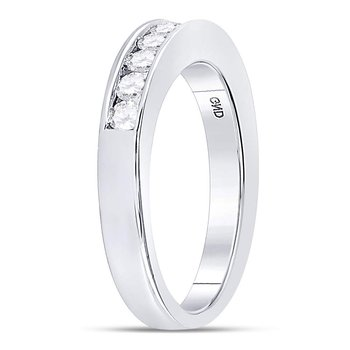 14kt White Gold Womens Round Channel-set Diamond Wedding Band 1/2 Cttw - Size 8