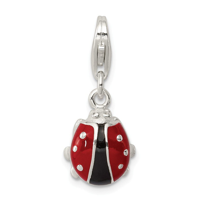 Quality Gold Sterling Silver Enameled Lady Bug Charm