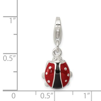 Sterling Silver Enameled Lady Bug Charm