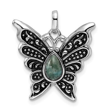 Sterling Silver Rhodium/Oxidized Reconstituted Turquoise Butterfly Pendant