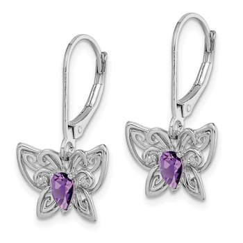 Sterling Silver Rhodium-plated Amethyst Diamond Butterfly Earrings