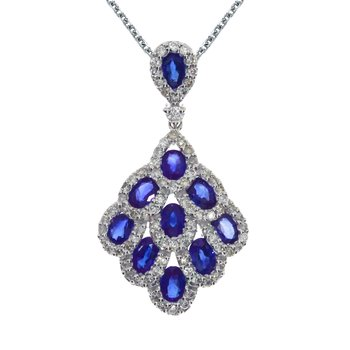 14k White Gold Sapphire and Diamond Cascading Fan Pendant