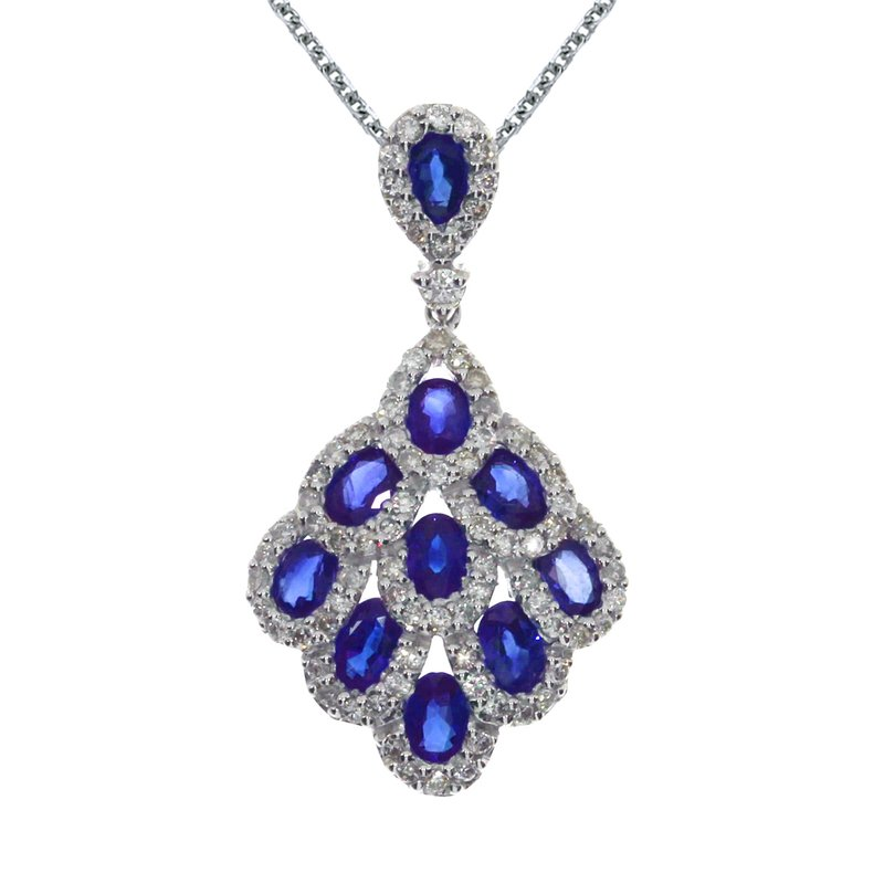 Color Merchants 14k White Gold Sapphire and Diamond Cascading Fan Pendant