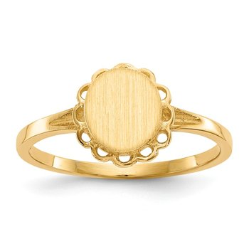 14k 7.0x6.5mm Open Back Signet Ring