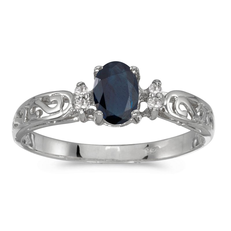Color Merchants 14k White Gold Oval Sapphire And Diamond Filagree Ring
