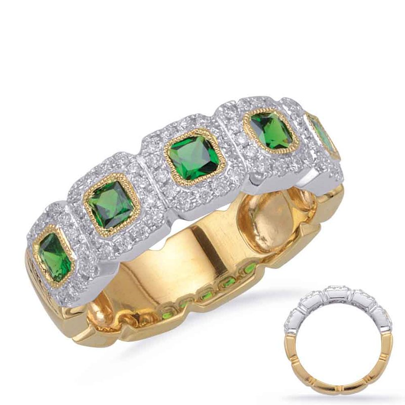 S. Kashi  & Sons Yellow & White Gold Tsavorite & Dia Ring