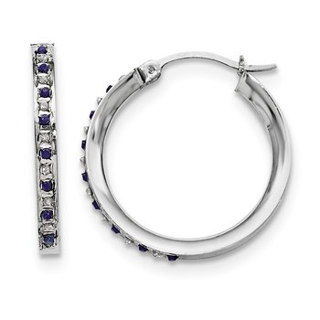 Sterling Silver Diamond & Sapphire Round Hoop Earrings