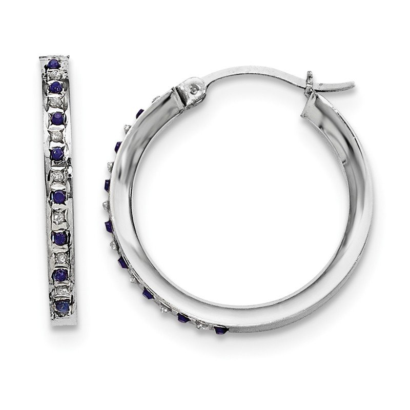 Quality Gold Sterling Silver Diamond & Sapphire Round Hoop Earrings