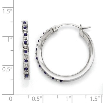 Sterling Silver Diamond Mystique Dia/Sapphire Round Hoop Earrings