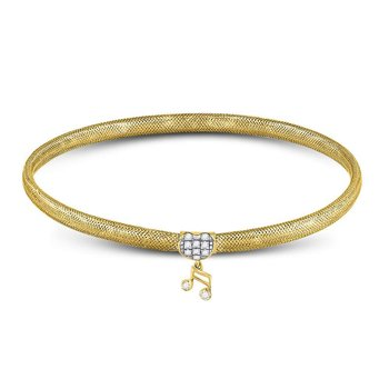 10kt Yellow Gold Womens Round Diamond Eighth Quaver Music Note Stretch Bangle Bracelet 1/10 Cttw