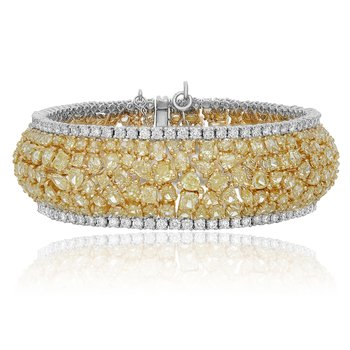 Two Tone Diamond Cluster Bracelet